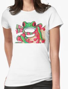 2013 Holiday ATC 21 - Red and Green Frog Womens Fitted T-Shirt
