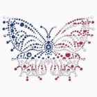 American Patriotic Dots Butterfly Flag T-Shirt by CroDesign