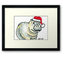 2013 Holiday ATC 17 - Ho Ho Ho Hippo Framed Print