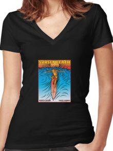 SUNSET BEACH OAHU HAWAII Women's Fitted V-Neck T-Shirt