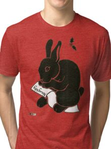 2013 Holiday ATC 15 - Rabbit Looking at the Naughty List Tri-blend T-Shirt