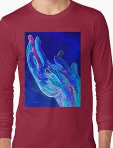 American Sign Language - Jesus - in Blue Long Sleeve T-Shirt