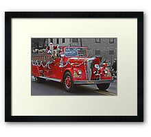 Santa on a Fire Truck Framed Print