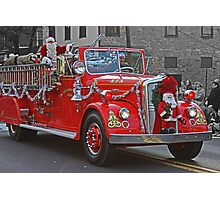 Santa on a Fire Truck Photographic Print