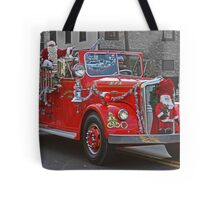 Santa on a Fire Truck Tote Bag