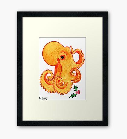 2013 Holiday ATC 9 - Orange Octopus and Holly Framed Print
