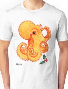 2013 Holiday ATC 9 - Orange Octopus and Holly Unisex T-Shirt