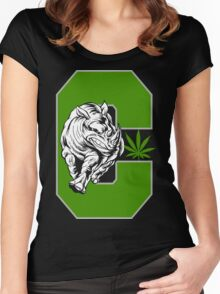 White Rhino Cannabis Women's Fitted Scoop T-Shirt