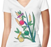 2013 Holiday ATC 7 - Dragonflies with Ornaments Women's Fitted V-Neck T-Shirt