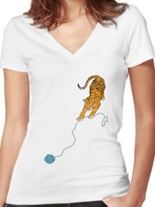 Big Kitty Women's Fitted V-Neck T-Shirt