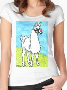 2013 Holiday ATC 6 - Llama Rudolph Women's Fitted Scoop T-Shirt