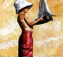 Little boy in the beach by Imre Toth (Emerico)
