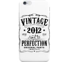 Year Of Birth 2012 Text Black iPhone Case/Skin