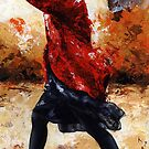 Lady in red /28 - Walking in the wind by Imre Toth (Emerico)