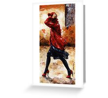 Lady in red /28 - Walking in the wind Greeting Card