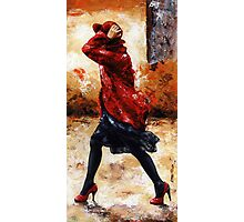 Lady in red /28 - Walking in the wind Photographic Print