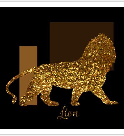 Golden Lion Modern composition, gold black brown Sticker