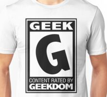 Rated G for Geek (Black) Unisex T-Shirt