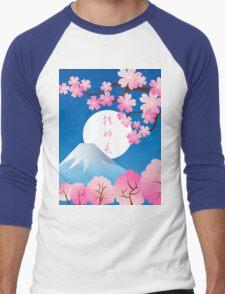 Mt Fuji Cherry Blossoms Spring Japan Night Sakura Men's Baseball ¾ T-Shirt