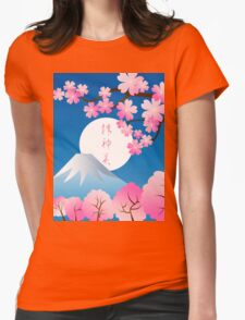 Mt Fuji Cherry Blossoms Spring Japan Night Sakura Womens Fitted T-Shirt