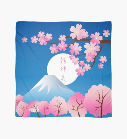 Mt Fuji Cherry Blossoms Spring Japan Night Sakura Scarf