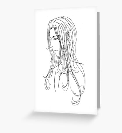 Elven Face in Black and White Greeting Card