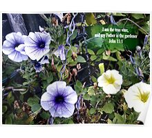 Clematis in basket. MESSAGE OF THE CREATOR. TEXT/BESPOKE Poster