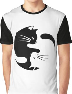 Ying yang cat (white) Graphic T-Shirt
