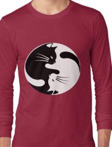 Ying yang cat (white) Long Sleeve T-Shirt