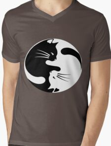 Ying yang cat (white) Mens V-Neck T-Shirt