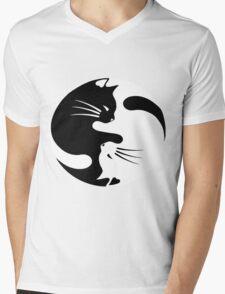 Ying yang cat (white) Mens V-Neck T-Shirt