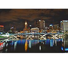 Columbus skyline at night - Columbus, Ohio Photographic Print