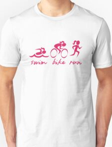 Swim Bike Run Girl (Pink) T-Shirt