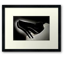 Sexy Black Patent leather Stiletto shoes photographed film noir style Framed Print