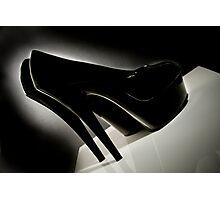 Sexy Black Patent leather Stiletto shoes photographed film noir style Photographic Print