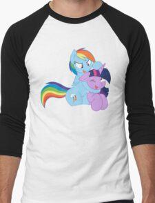 Rainbow And Twilight Playing Men's Baseball ¾ T-Shirt