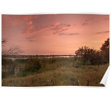 Sunset on the lakeshore Poster