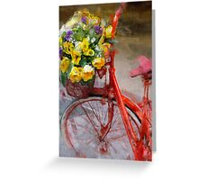 Red bicycle with flowers Greeting Card