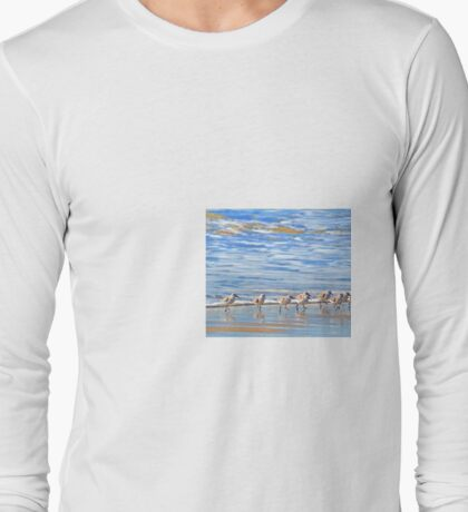 We're following the leader... Sandpipers in Goleta Beach California Long Sleeve T-Shirt