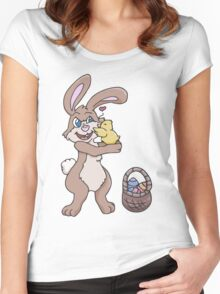 Easter Bunny with Baby Chick  Women's Fitted Scoop T-Shirt