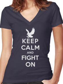 Keep Calm And Fight On 9/11 Tribute Memorial American Patriotic T Shirt Women's Fitted V-Neck T-Shirt