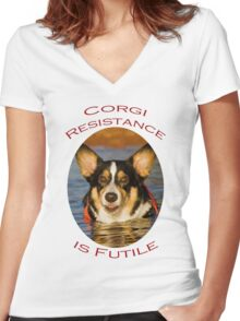 Corgi Resistance Women's Fitted V-Neck T-Shirt