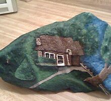 """Grandma's House"" Hand Painted Rock by Gary Goza by GarysArt"