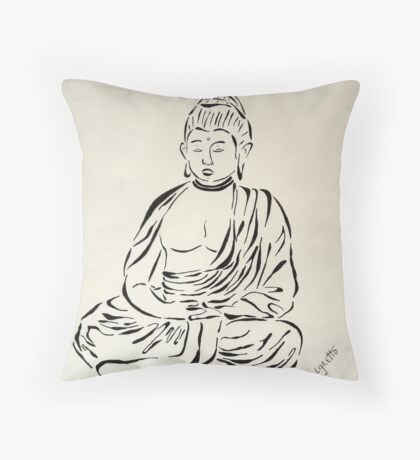 Black and White Buddha Throw Pillow