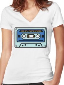 8 bit Old School Casette Women's Fitted V-Neck T-Shirt