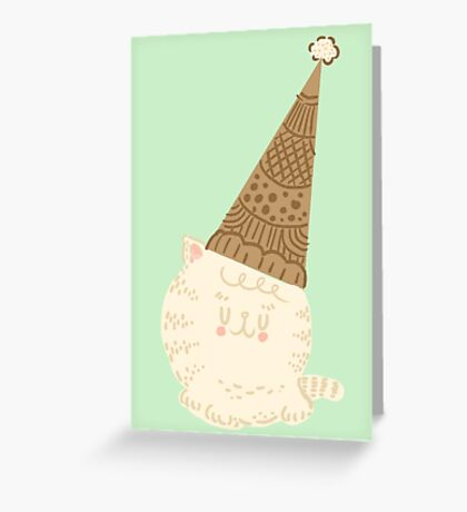 Holiday Ice Cream Cat Greeting Card