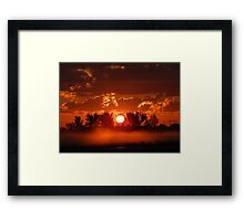 Flaming Horses over the Foggy Sunrise  Framed Print