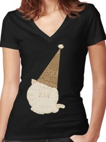 Holiday Ice Cream Cat Women's Fitted V-Neck T-Shirt