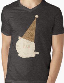 Holiday Ice Cream Cat Mens V-Neck T-Shirt