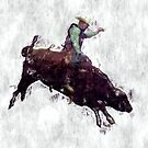 Western-style Bull Rider Rodeo Cowboy by NaturePrints